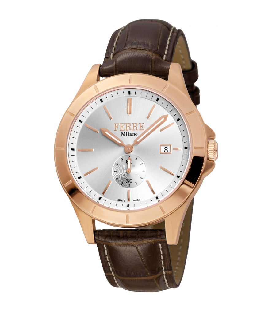 Image for Ferre Milano FM1G080L0031 Rose gold watch, brown leather strap, silver dial