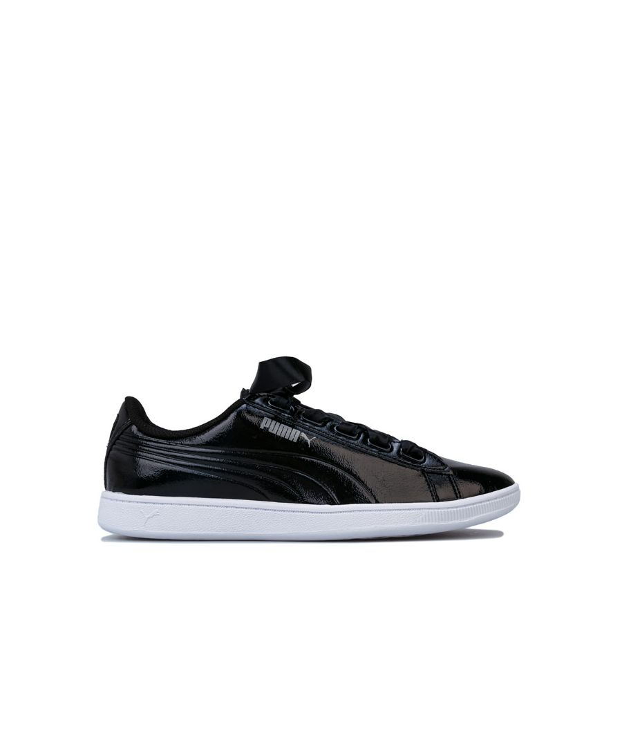 Image for Women's Puma Vikky Ribbon Patent Trainers in Black