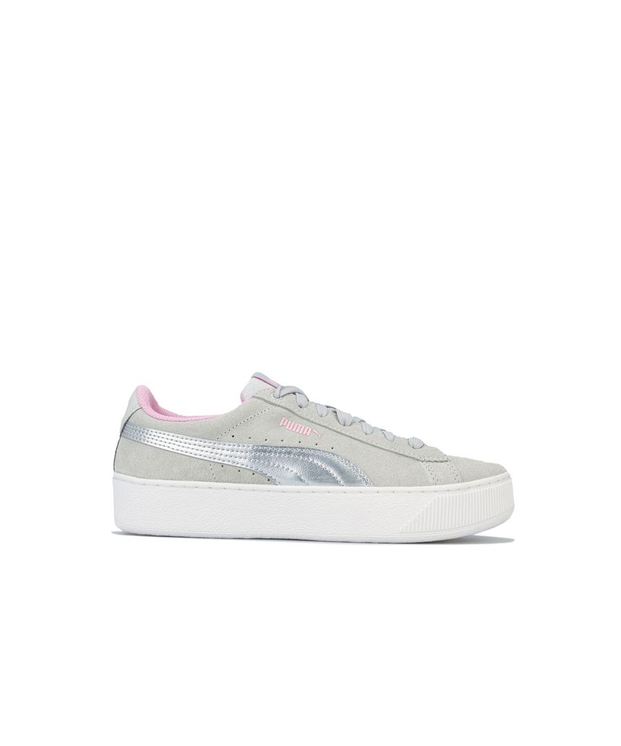 Image for Girl's Puma Junior Vikky Platform Trainers in Grey