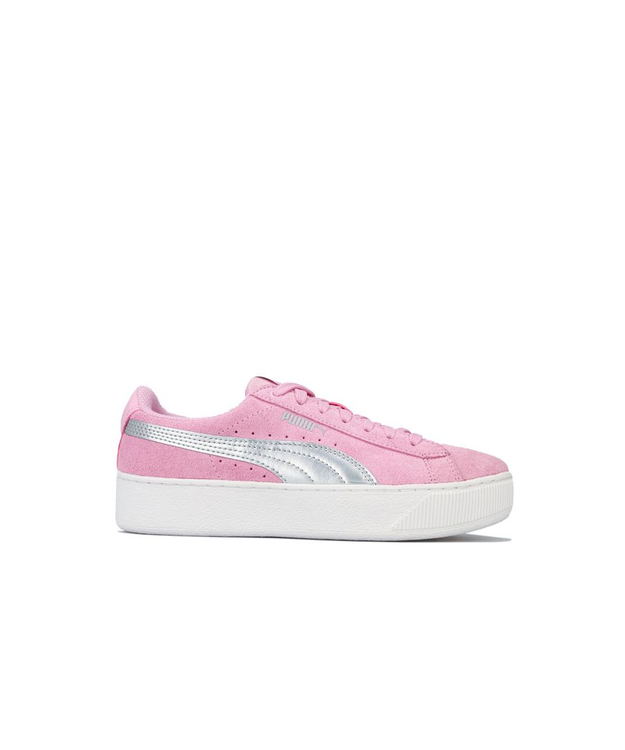Image for Girl's Puma Junior Vikky Platform Trainers in Pink