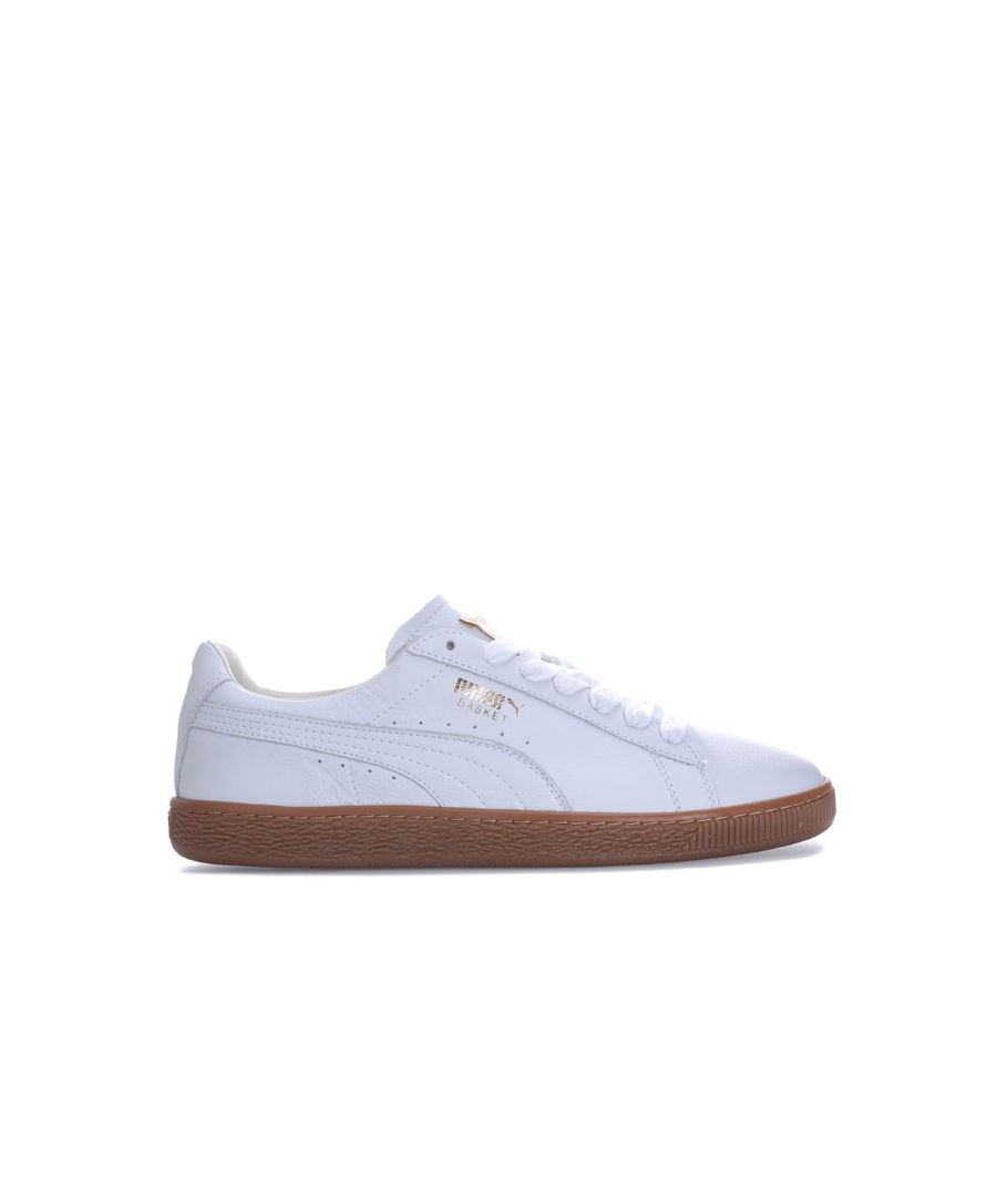 Image for Men's Puma Basket Classic Gum Deluxe Trainers in White gold