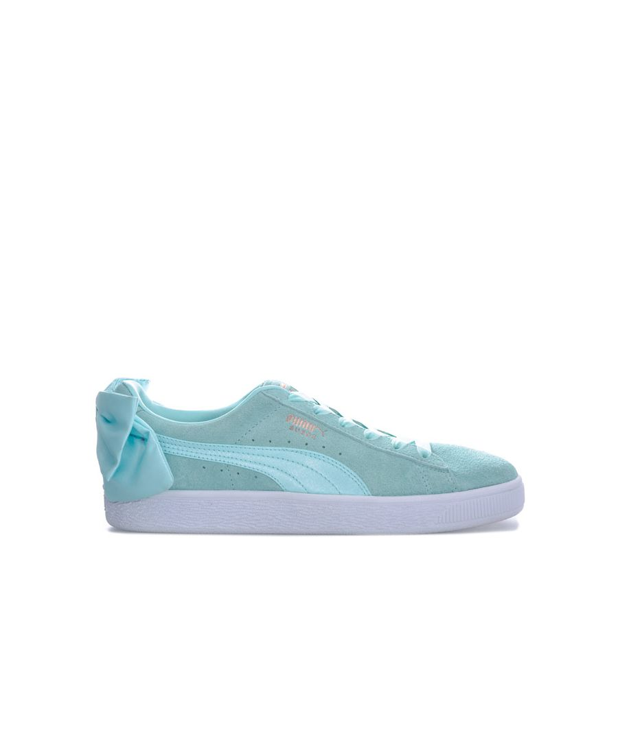 Image for Women's Puma Suede Bow Trainers in aqua