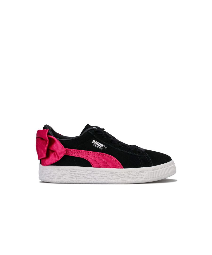 Image for Girl's Puma Children Suede Bow Trainers in black pink