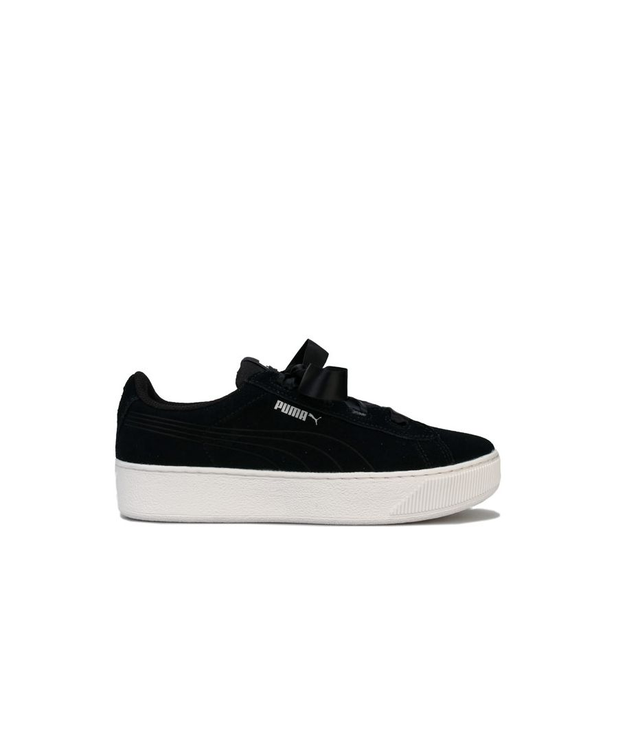 Image for Girl's Puma Junior Vikky Platform Ribbon Trainers in Black