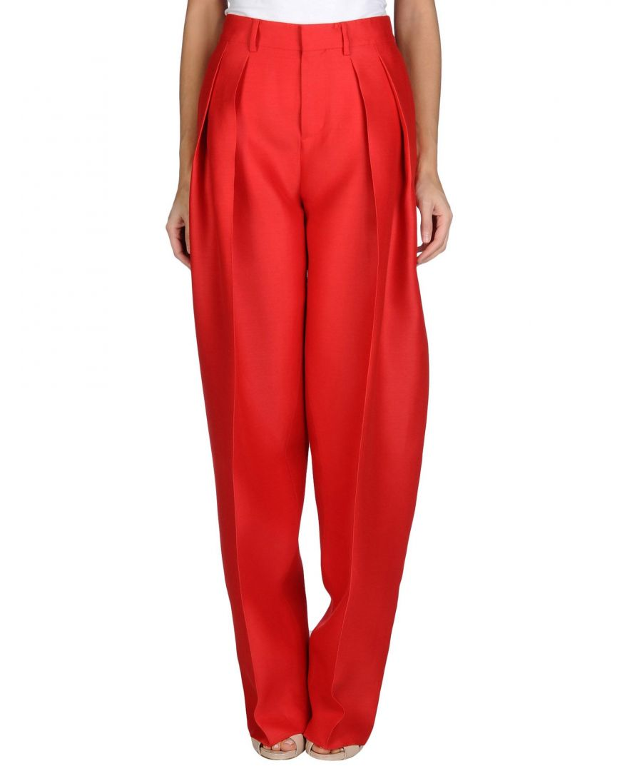 Image for Dsquared2 Red Wool Wide Leg Trousers