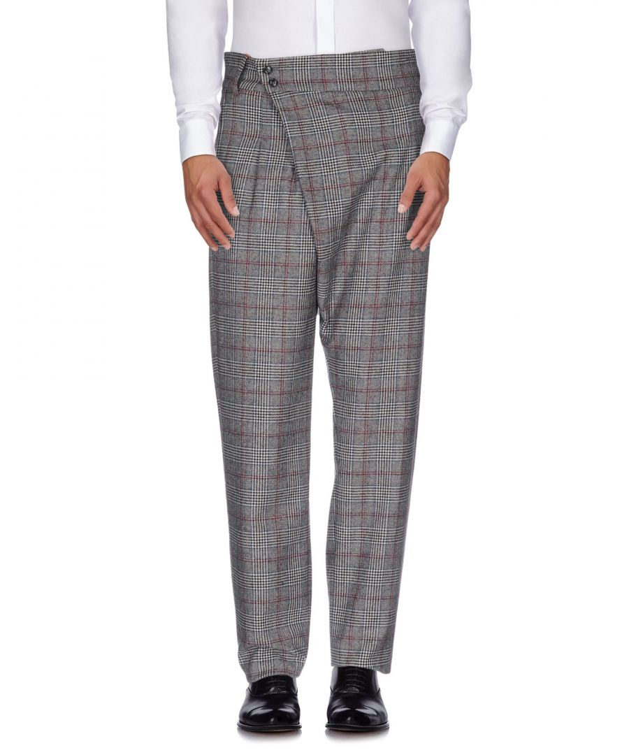 Image for Stella Jean Grey Prince Of Wales Wool Straight Leg Tailored Trousers