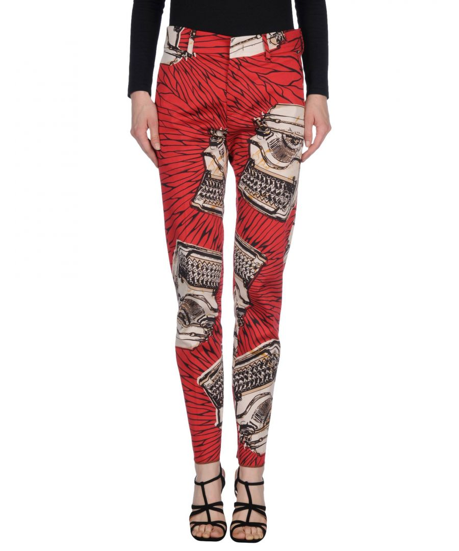 Image for Stella Jean Red Pattern Cotton Tapered Leg Chino Trousers
