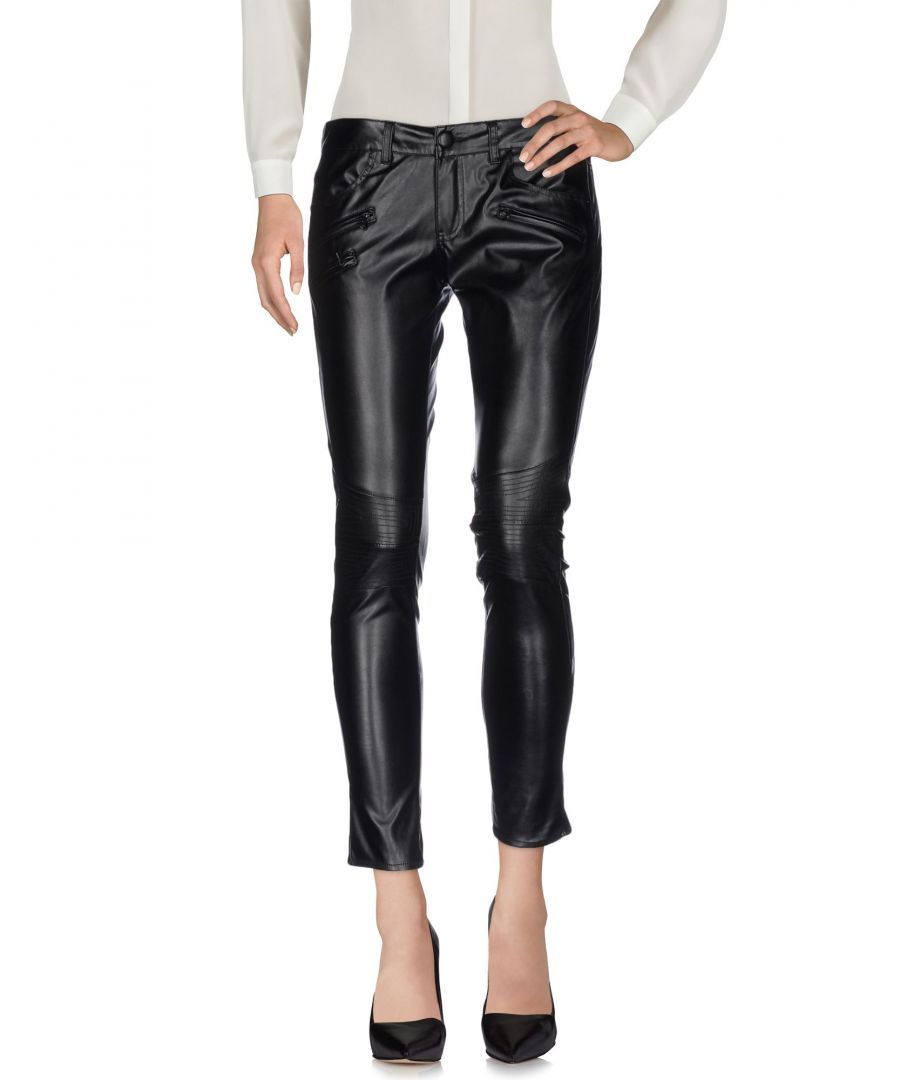 Image for Guess Black Faux Leather Trousers