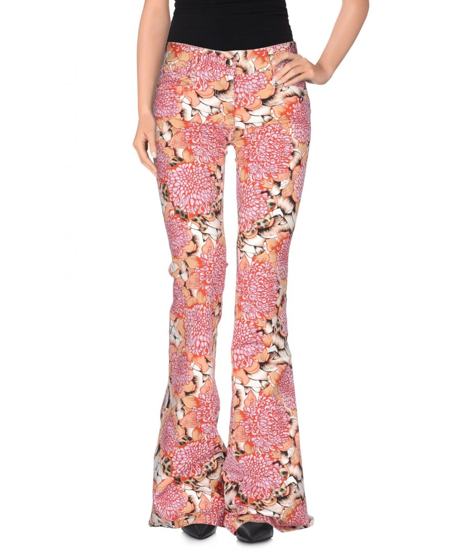Image for Just Cavalli Light Purple Floral Print Cotton Flared Trousers