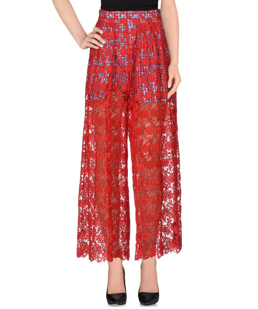 Image for Stella Jean Red Cotton Lace Wide Leg Trousers