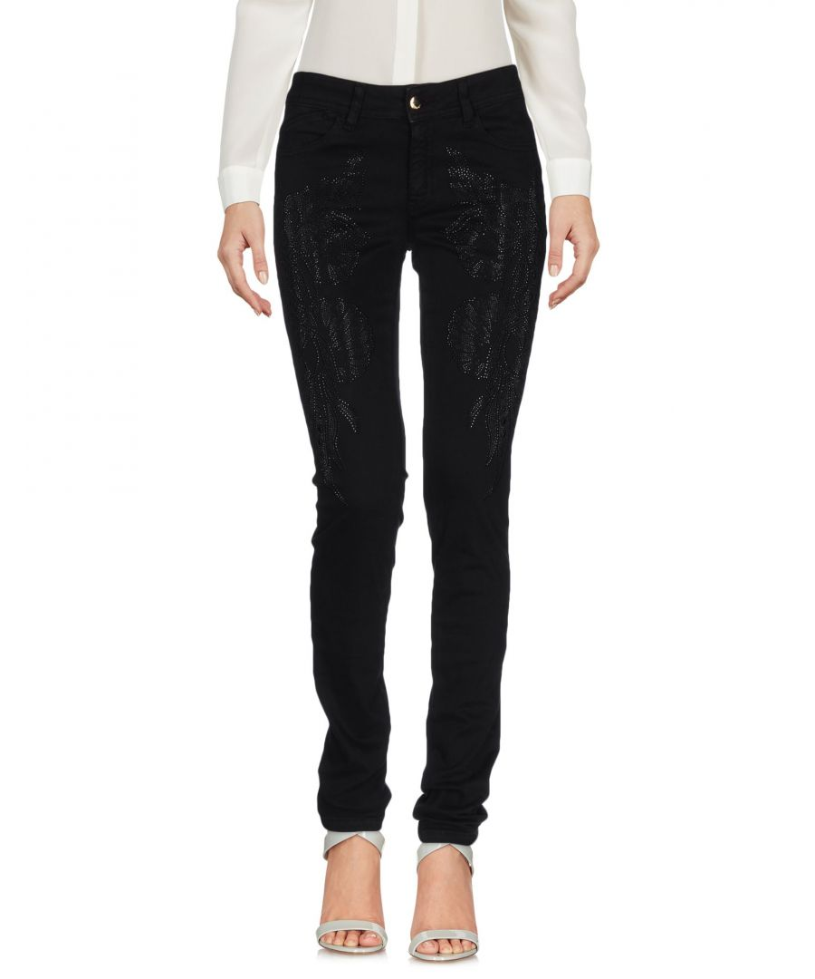 Image for Just Cavalli Black Cotton Tapered Leg Trousers