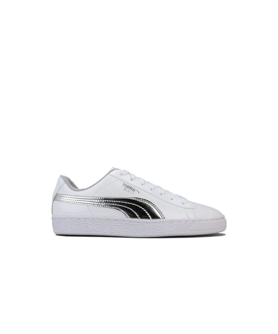 Image for Girl's Puma Junior Basket Mirror Trainers in White