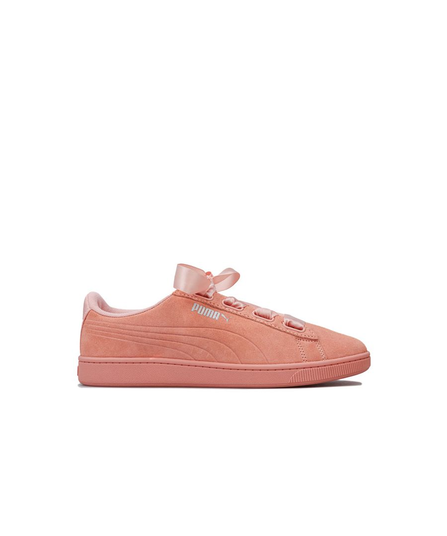 Image for Women's Puma Vikky v2 Ribbon Trainers in Peach