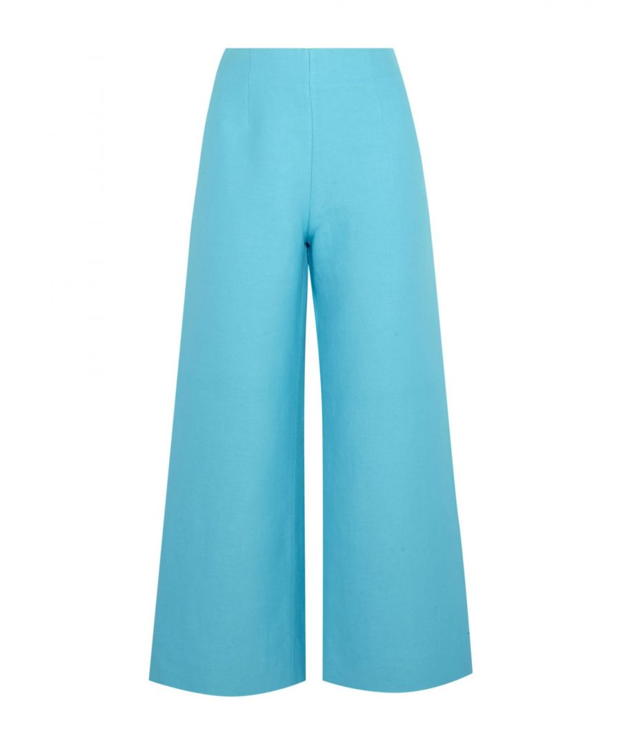 Image for Isa Arfen Turquoise Linen Wide Leg Trousers