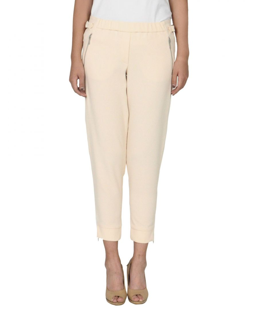 Image for Emporio Armani Beige Crepe Tapered Leg Trousers