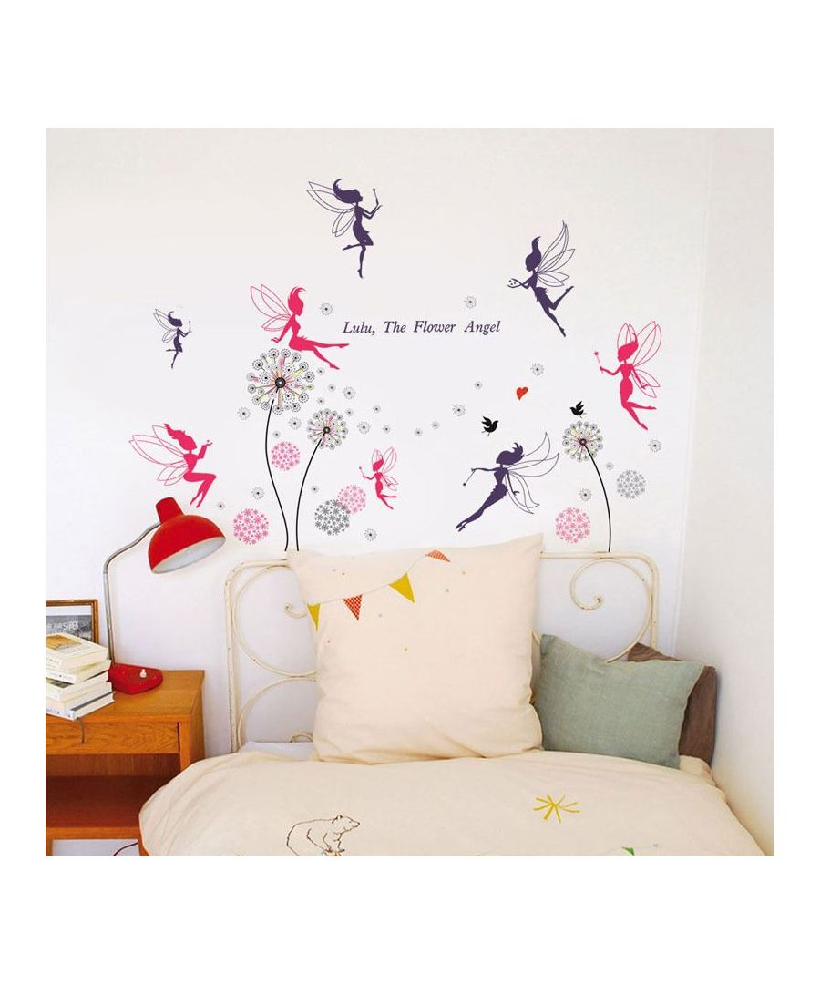 Image for Combo of Fairies + Walplus Pink Dandelion Wall Stickers, Kitchen, Bathroom, Living room, Self-adhesive, Decal, Wall Sticker Flowers, Butterflies Decoration