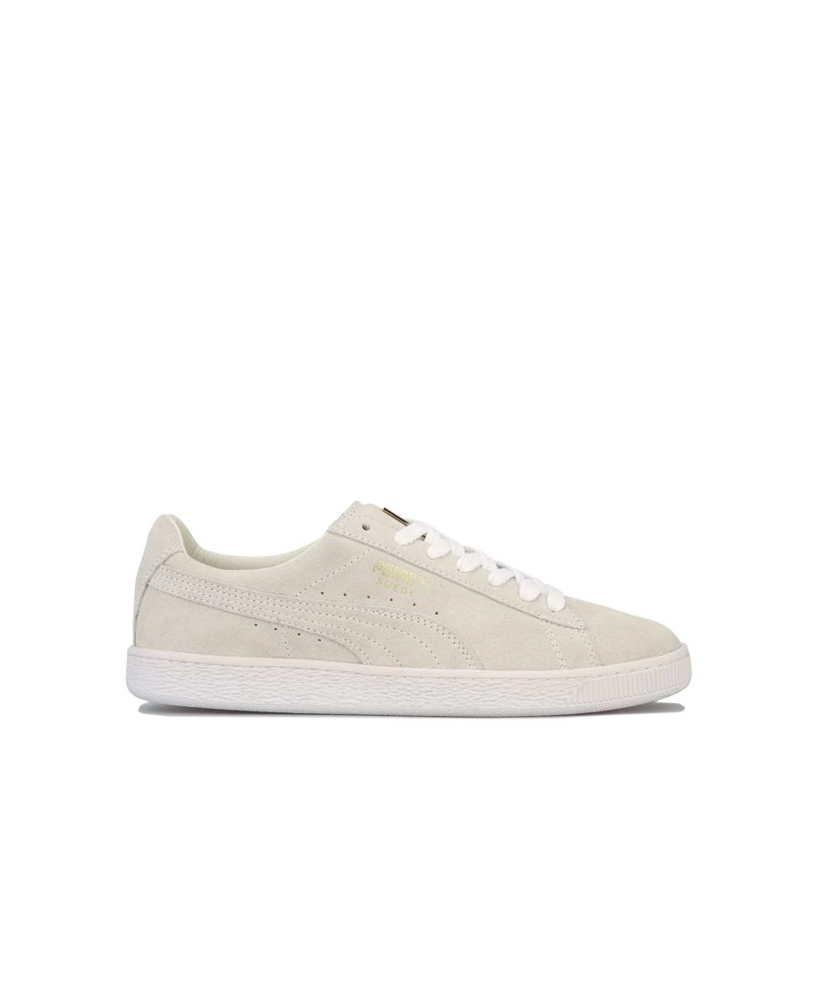 Image for Men's Puma Suede Classic Metal Badge Trainers in White gold