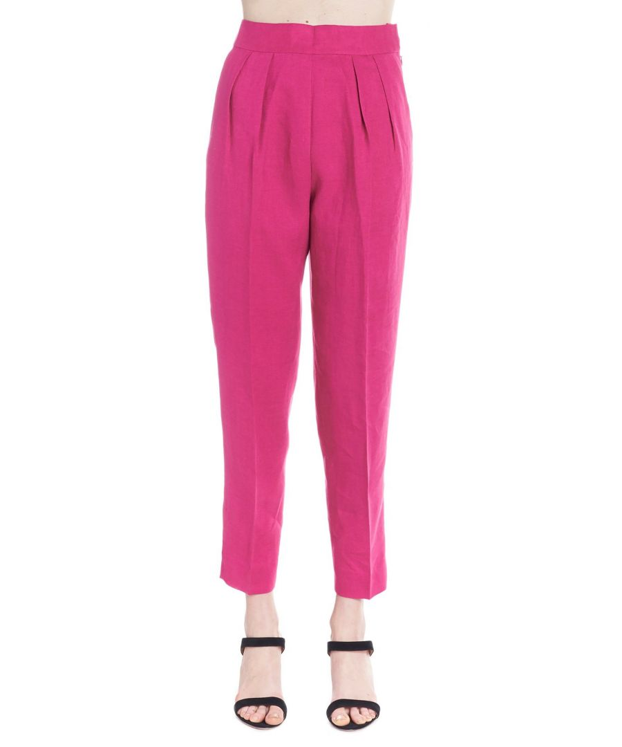 Image for THEORY WOMEN'S J0303203Y7R FUCHSIA LINEN PANTS