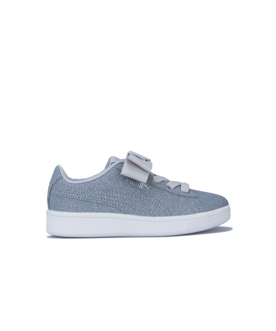 Image for Girl's Puma Children Vikky Ribbon Trainers in Silver