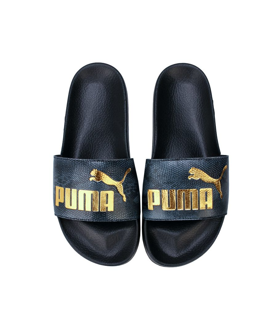 Image for Women's Puma Leadcat Snake Lux Slides in Black Gold