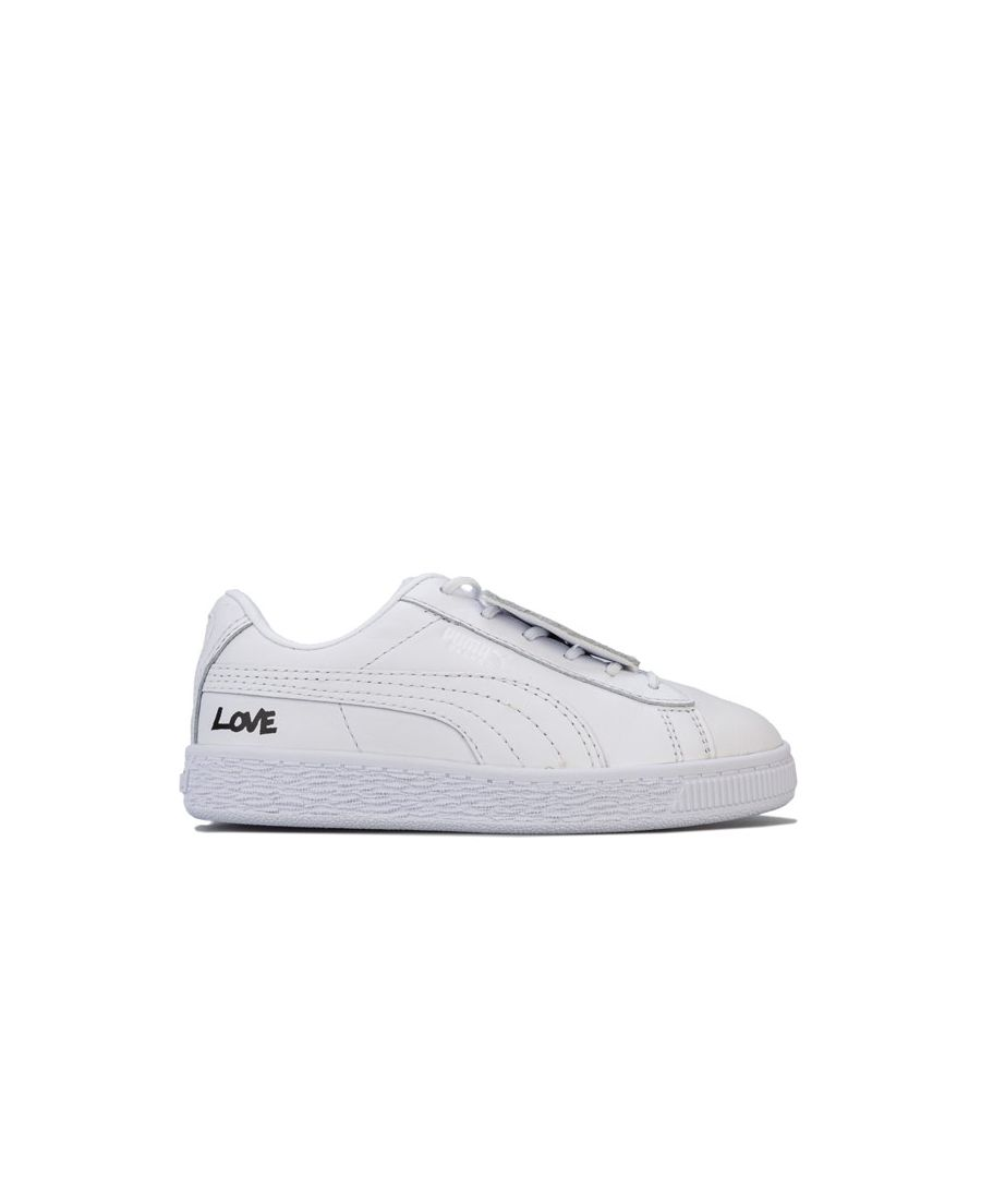 Image for Girl's Puma Children Basket Badge Trainers in White