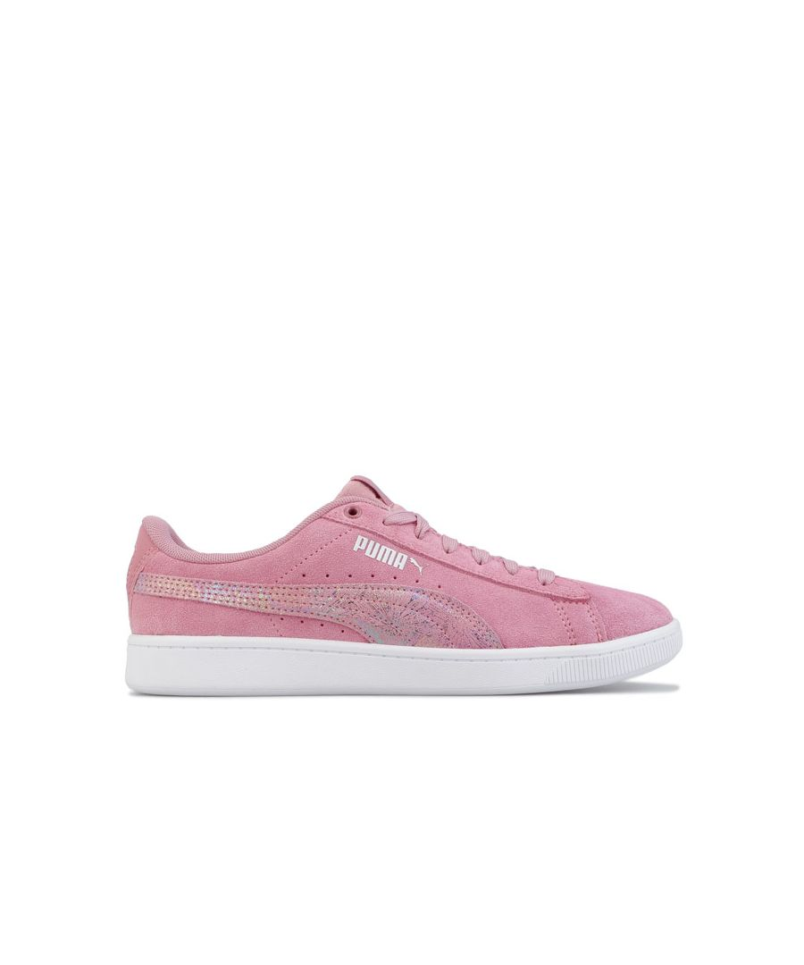 Image for Girl's Puma Junior Vikky v2 SoftFoam Trainers in Dusky Pink