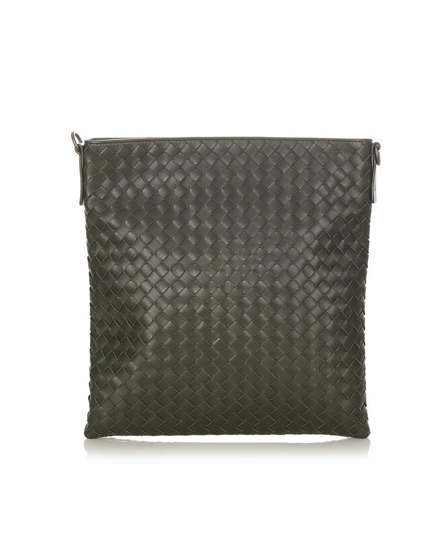 Image for Vintage Bottega Veneta Intrecciato Leather Crossbody Bag Green