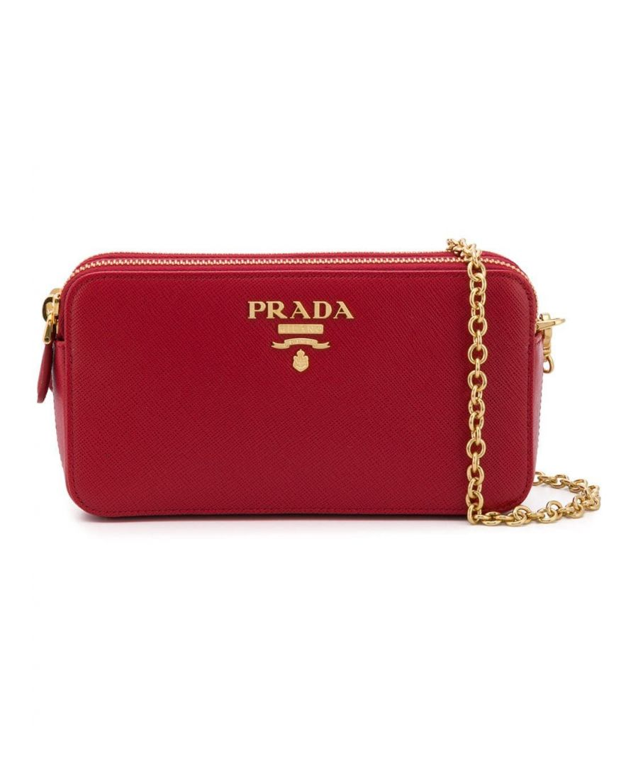 Image for PRADA WOMEN'S 1DH010QWAF068Z RED LEATHER SHOULDER BAG