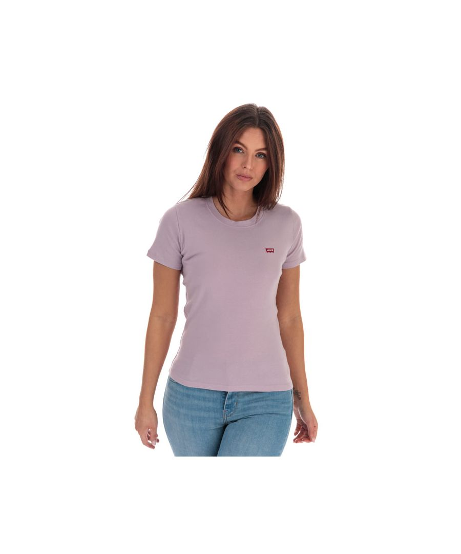 Image for Women's Levis Ribbed Baby T-Shirt Lavender 6in Lavender