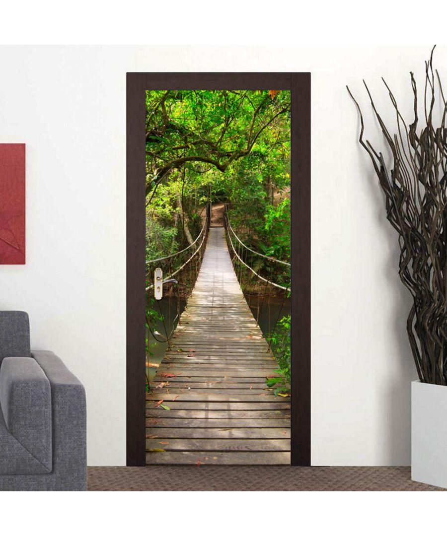Image for Door Mural Drawbridge Jungle Walk Decor Home Decoration Self-Adhesive Stickers
