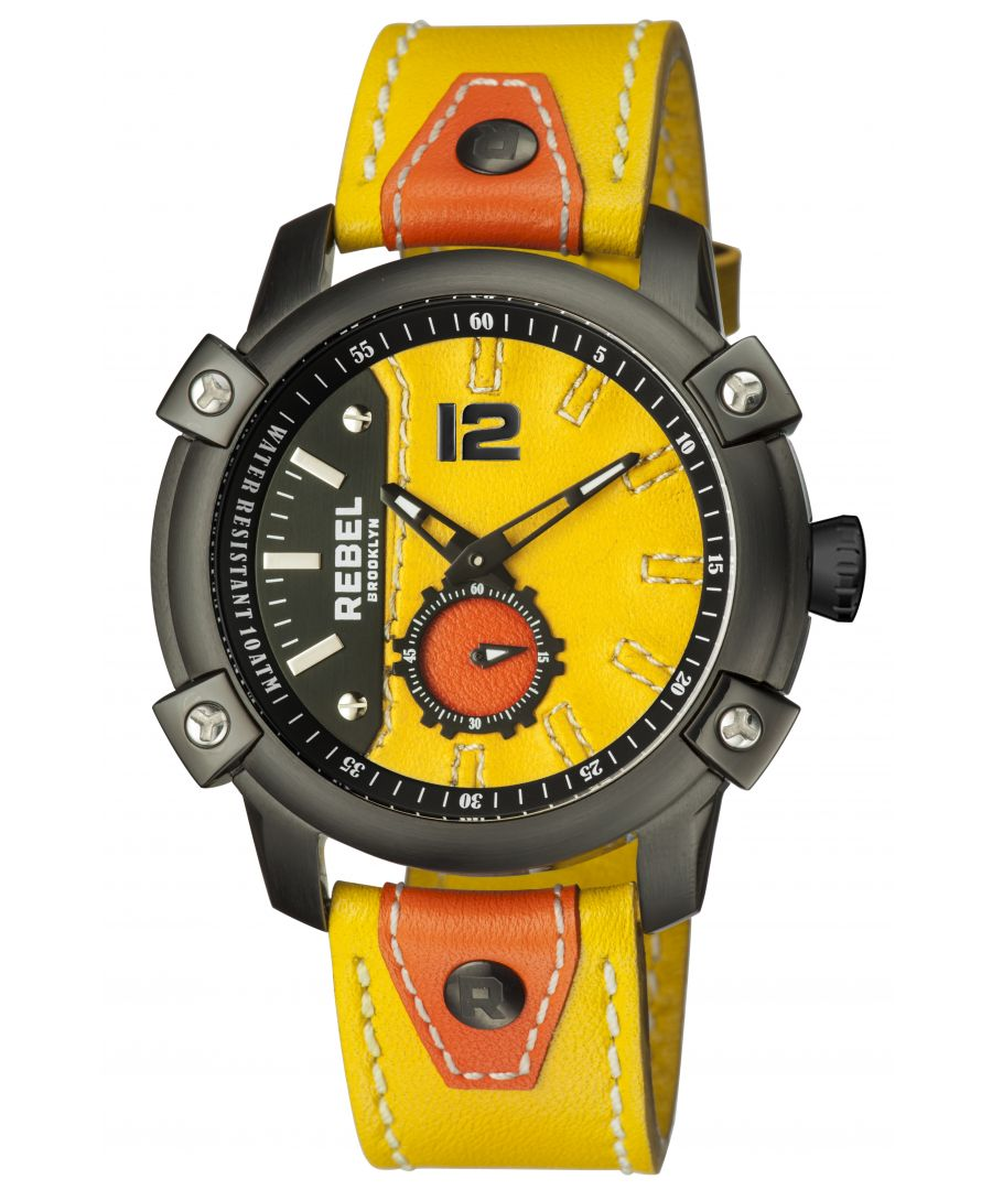 Image for Rebel Mens Weeksville Yellow Gold/Bronze Dial Leather Watch