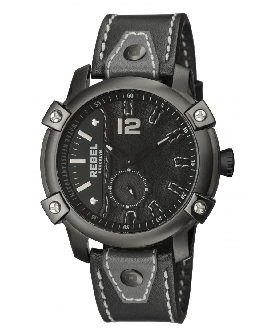 Image for Rebel Mens Weeksville Black Dial Leather Watch