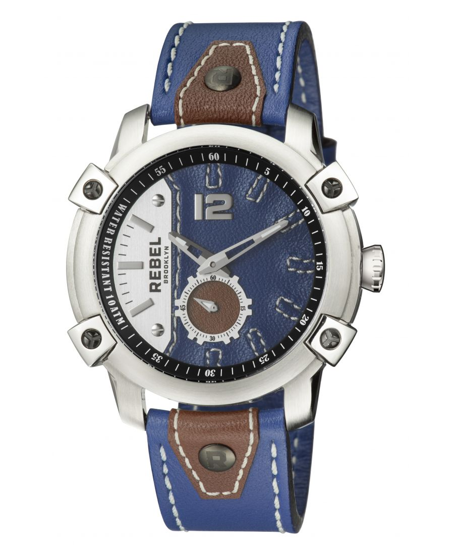 Image for Rebel Mens Weeksville Navy Dial Leather Watch