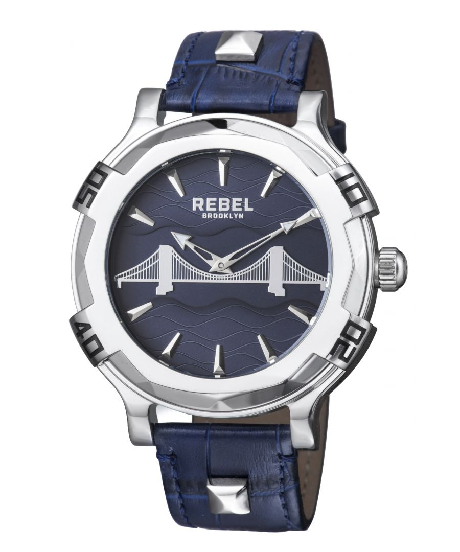 Image for Rebel Mens Brooklyn Bridge Blue  Dial Leather Watch
