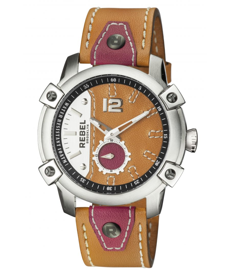Image for Rebel Mens Weeksville Luggage (Orange) Dial Leather Watch