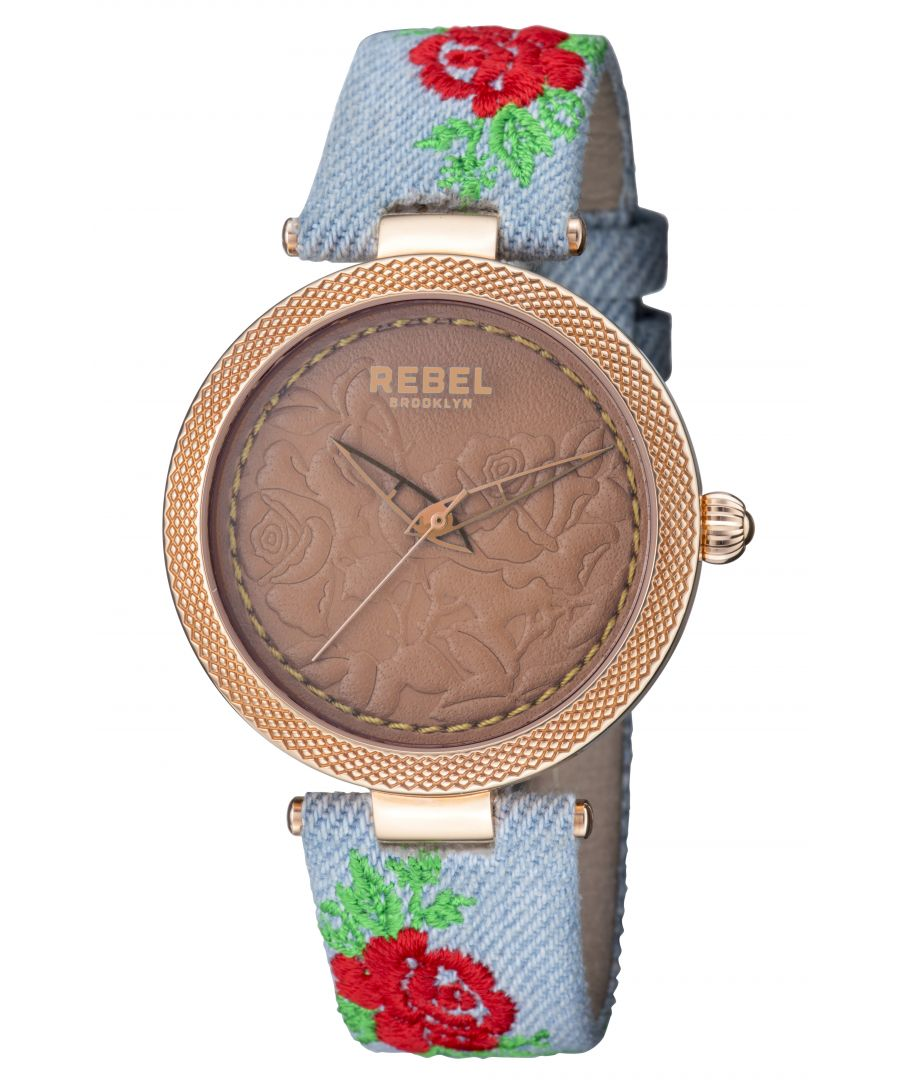 Image for Rebel Womens Carroll Gardens Brown Dial Cloth Watch