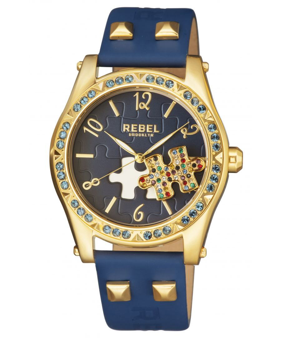 Image for Rebel Womens Gravesend Navy Dial Leather Watch