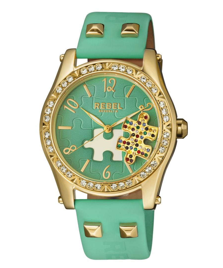 Image for Rebel Womens Gravesend Teal Dial Leather Watch