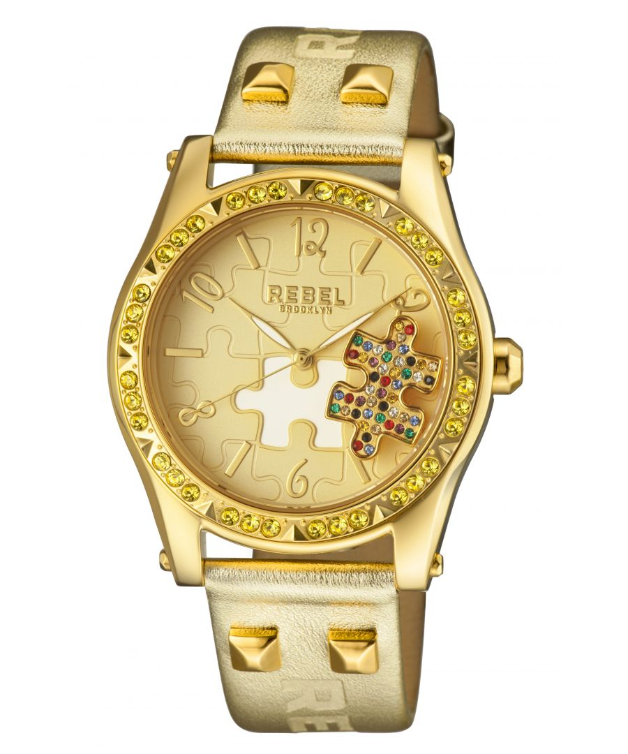 Image for Rebel Womens Gravesend Yellow Gold Dial Leather Watch