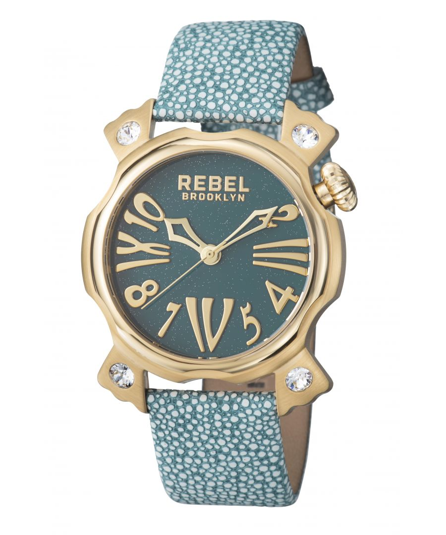 Image for Rebel Womens Coney Island Teal Dial Leather Watch