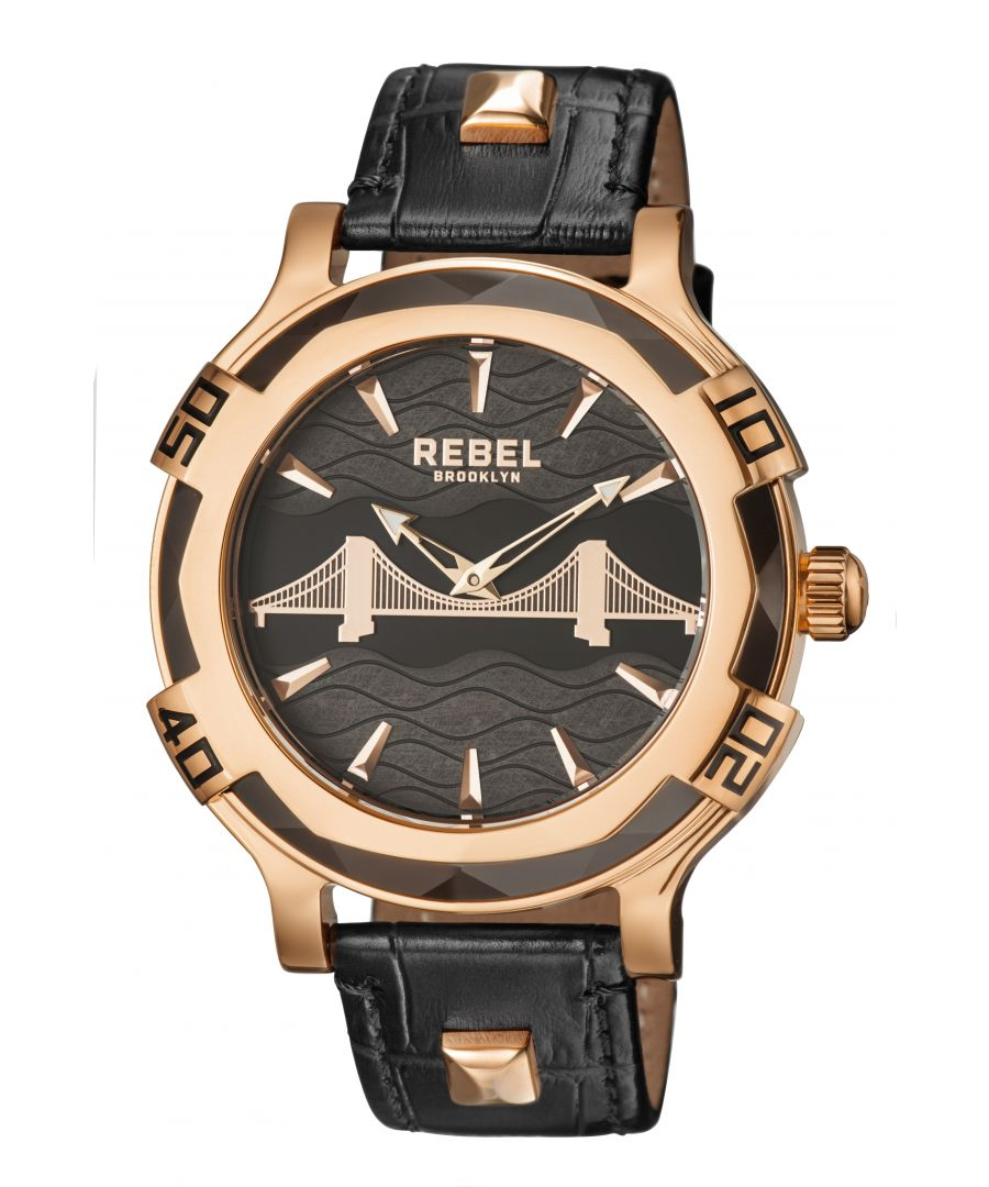 Image for Rebel Mens Brooklyn Bridge Black Dial Leather Watch