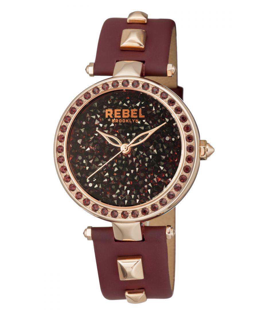 Image for Rebel Womens Rockaway Parkway Burgundy/Black Dial Leather Watch