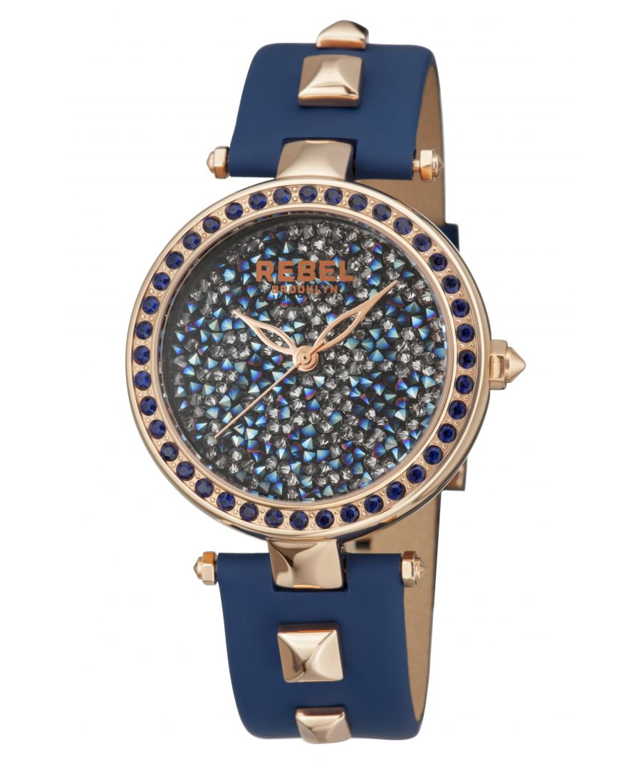 Image for Rebel Womens Rockaway Parkway Blue/Silver Dial Leather Watch