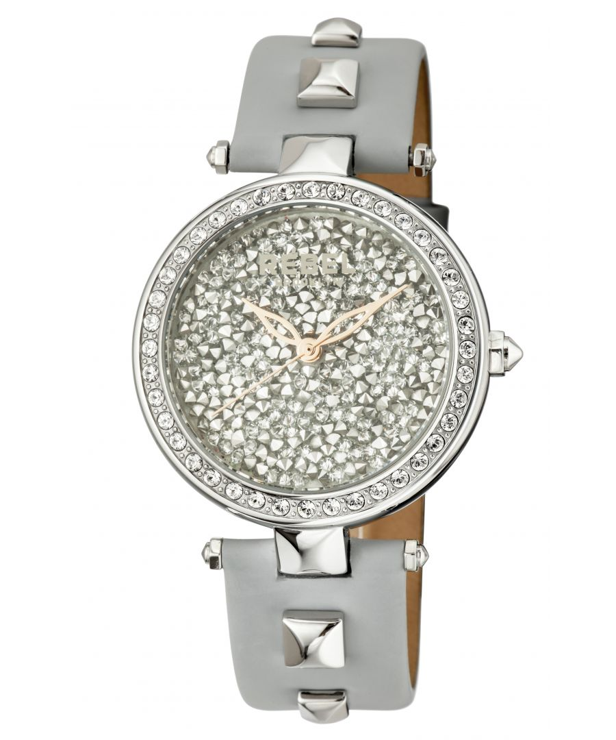 Image for Rebel Womens Rockaway Parkway Grey/Silver Dial Leather Watch