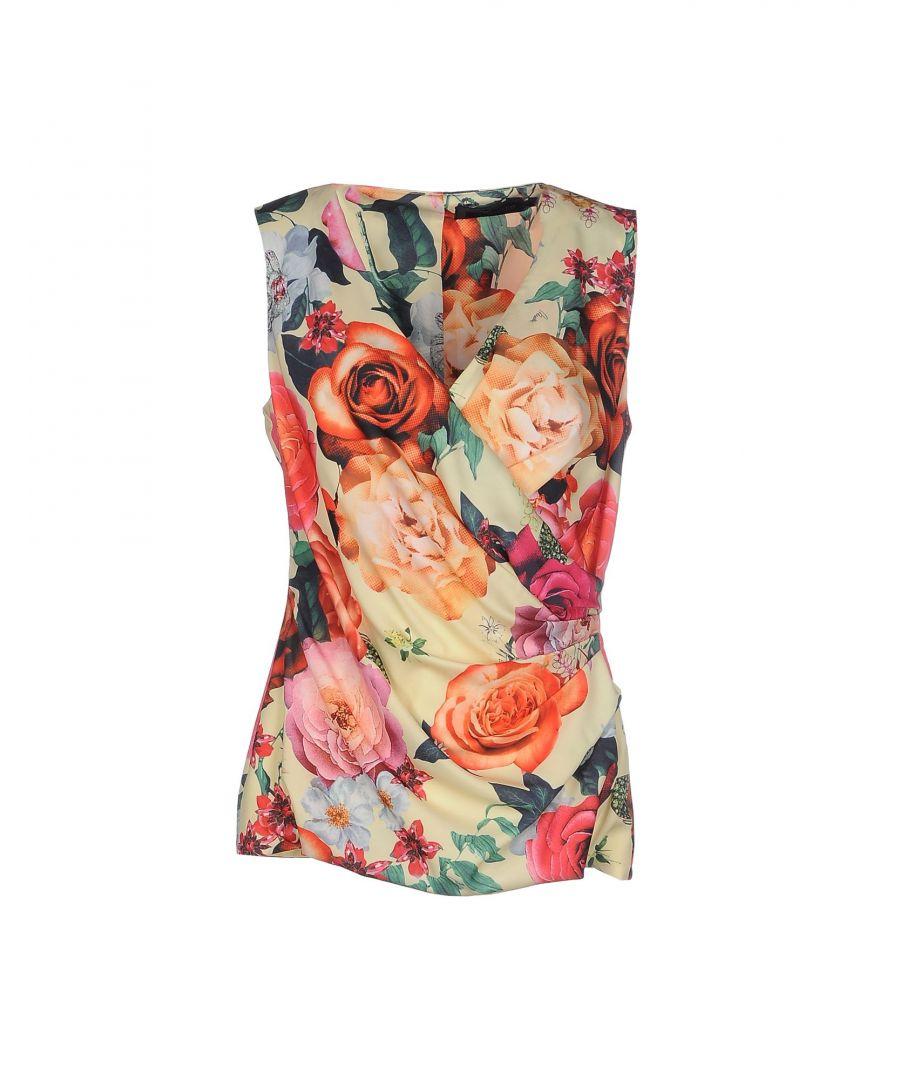 Image for Nenette Yellow Floral Design Sleeveless Blouse