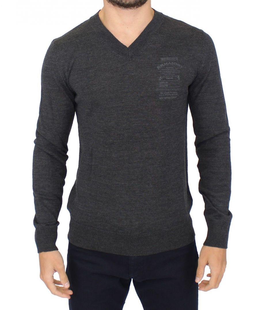 Image for Ermanno Scervino Gray Wool Blend V-neck Pullover Sweater