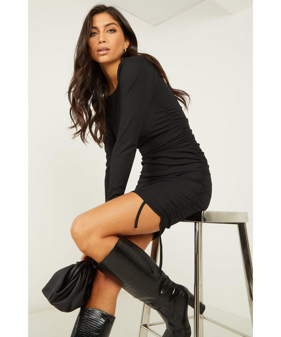 Image for Black Ruched Bodycon Dress