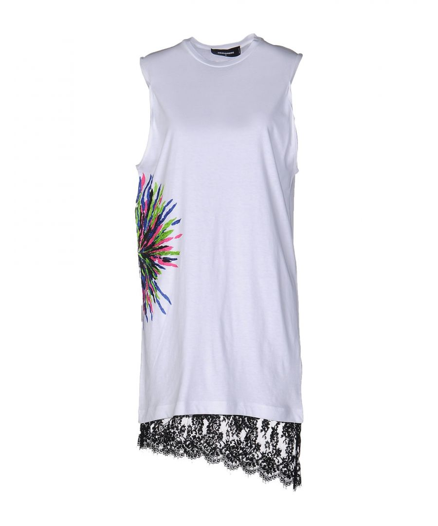 Image for Dsquared2 White Cotton Sleeveless Dress With Lace Hemline