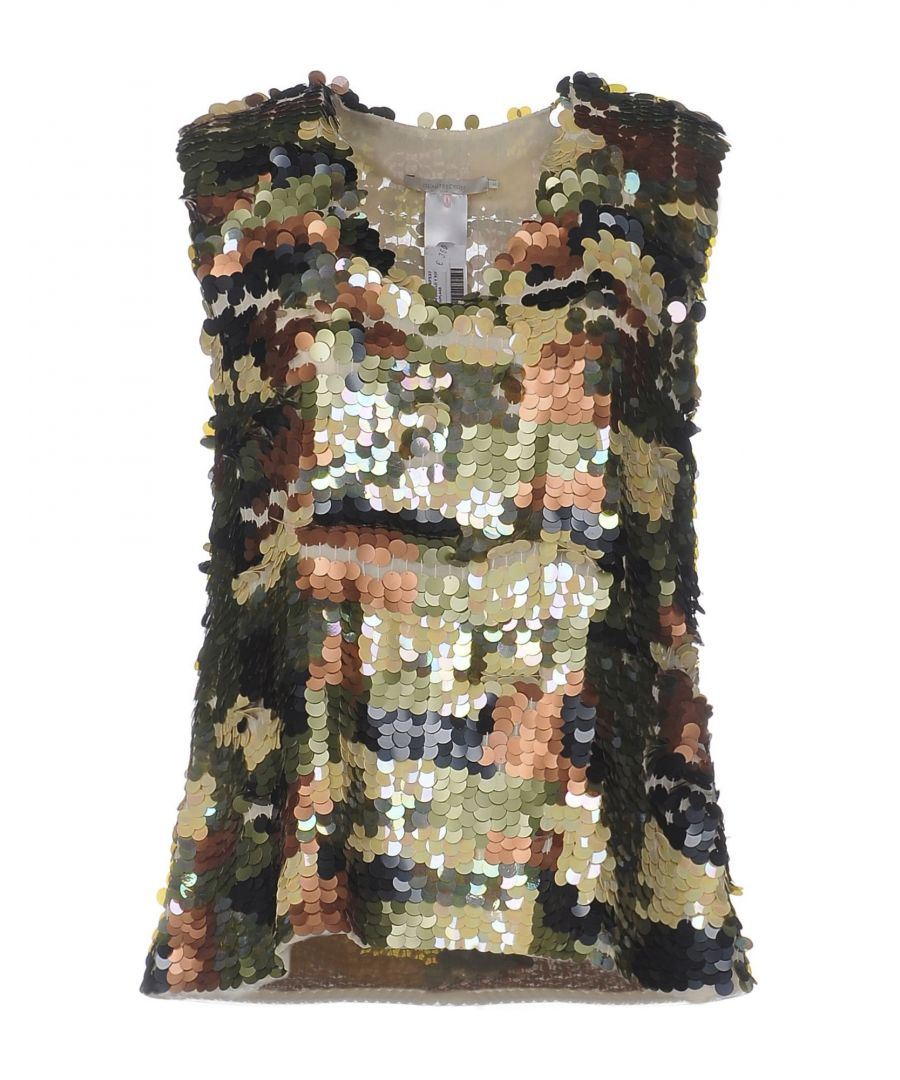Image for L' Autre Chose Military Green Sleeveless Sequin Blouse