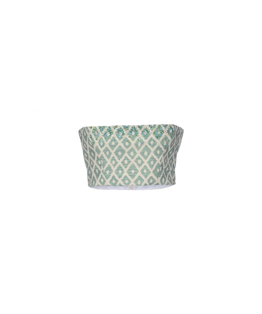 Image for Dsquared2 Light Green Geometric Design Cotton Strapless Top
